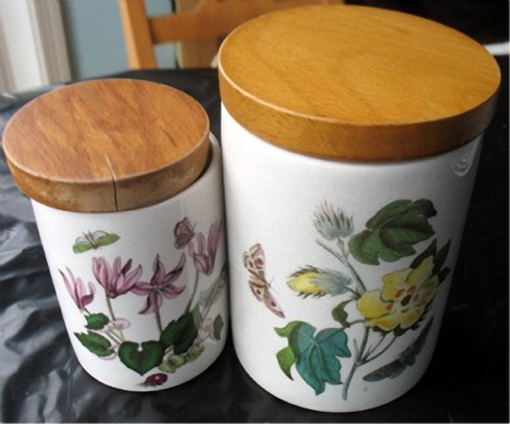 2 Portmeirion Botanic Garden Small Canisters Wood Lids